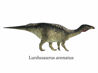 Lurdusaurus Dinosaur with Font - Lurdusaurus was a herbivorous ornithopod iguanodont dinosaur that lived in Niger in the Cretaceous Period.