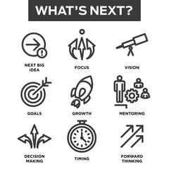 What's Next Icon Set with Big Idea, Mentoring, Decision Making,