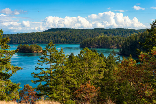 Scenic view from the top of Deception Pass, Washington