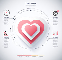 infographic diagram of Heart  and love concept. included icon and text.