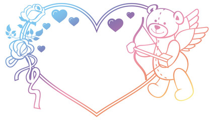 Gradient label with  roses and teddy bear looks like a Cupid. Raster clip art.