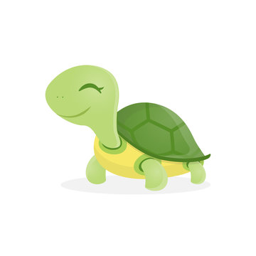 Happy cute turtle walking with smile, Vector illustration.