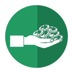 st patricks day hand holding coins shadow vector illustration eps 10