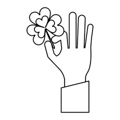 hand holding clover st patricks day thin line vector illustration eps 10