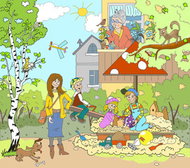 Figure warm spring, summer day in the yard. Sandpit, kids play in the sand, the boy goes for a drive on a swing, walk. Woman with dog, Grandma is watering the flowers. Children's book book
