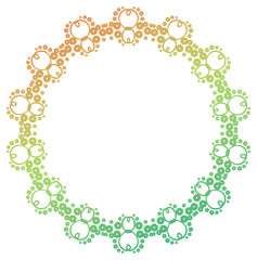 Gradient color abstract round frame. Raster clip art.