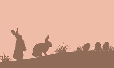Landscape of easter bunny and egg