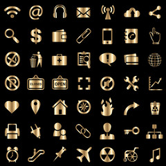 universal icons set metallic gold vector illustration isolated on black.