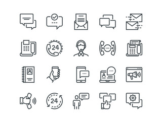 Communication. Set of outline vector icons. Includes such as Phone Calls, Video Chat, On-line Support and other. Editable Stroke. 48x48 Pixel Perfect.