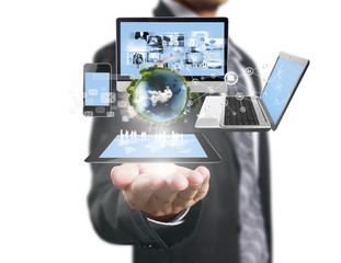 Technology in  hands of businessmen