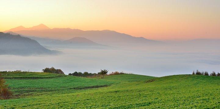 緑の草原と大地の夜明け