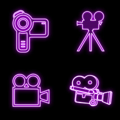 Glowing camcorder/video camera icons set isolated on black, purple Neon Glow icons