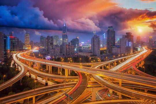 super highway in shanghai city