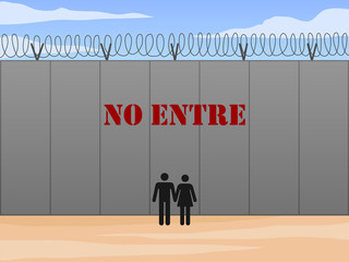 Border wall between United States and Mexico with do not enter sign in Spanish vector illustration