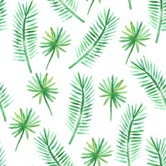 Vector seamless watercolor tropical pattern