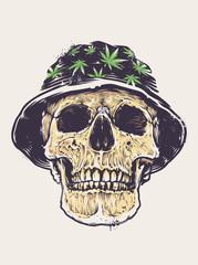 Rasta Skull in Hat