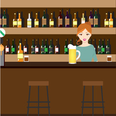 Bar Restaurant with girl in flat style. Vector banner of interior with bar counter, bar chairs and shelves with alcohol.