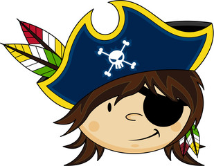 Cute Cartoon Eye Patch Pirate captain