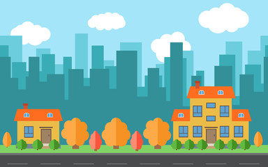 Vector city with two cartoon houses and buildings. City space with road on flat style background concept. Summer urban landscape. Street view with cityscape on a background