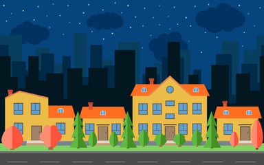 Vector night city with cartoon houses and buildings with red and green trees and shrubs. City space with road on flat style background concept. Summer urban landscape.