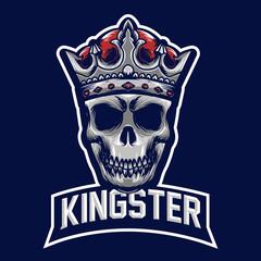 King skull mascot logo