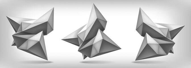 Volume geometric shapes set, 3d crystals, abstraction low polygons object, vector design forms