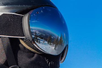 Beautiful reflection in ski glasses