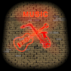 musical background red neon sign guitar and saxophone