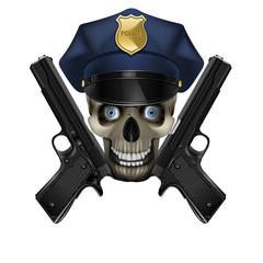 skull in a police cap and pistol