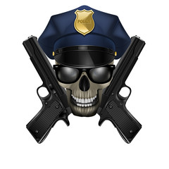 skull with sunglasses in a police cap and pistol
