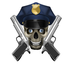 skull in a police cap and silver pistol