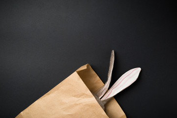 Easter bunny in a paper bag. Rabbit. Black background. Easter ideas. Easter eggs. Space for text.