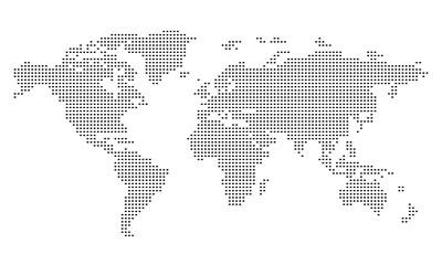 Pictogram - World map, Line, Stroke, Dash, large - Object, Icon, Symbol
