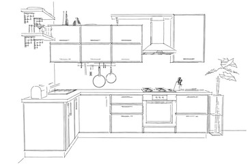 Sketch of modern corner kitchen. 3d outline illustration black and white. Front view.