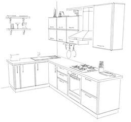 Sketch of modern corner kitchen. 3d outline illustration black and white.