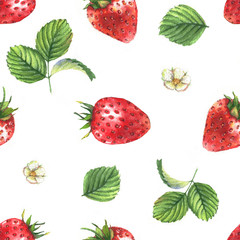 Hand drawn seamless pattern with watercolor strawberries, berries and leaves on the white background. Repeated background