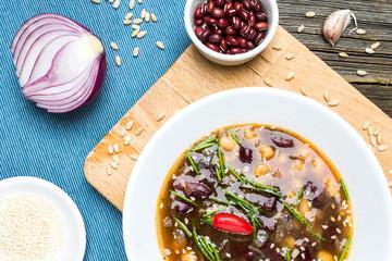 Beans Soup. Vegetarian Adzuki Bean Meal with Cooking Ingredients.