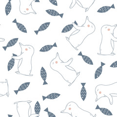 Seamless Pattern with Penguin and Fish