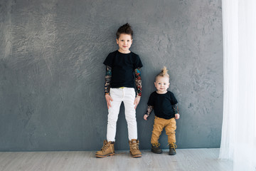 Two fashionable brother. They are stylish and beautiful.
