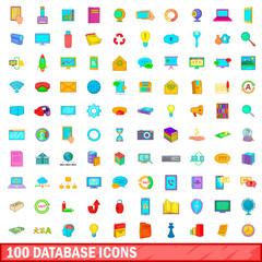 100 database icons set, cartoon style