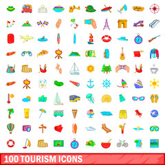100 tourism icons set, cartoon style