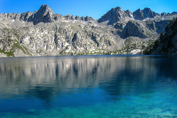 "Black lake.""Chariots of fire"" trail. Pyrenees mountain."