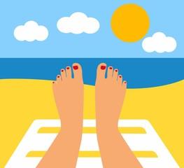 Tanned Feet and the sea. female legs against the sea, beach