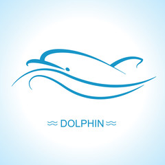 Dolphin and sun logo poster on blue sea wave background.Vector flat symbol illustration for text