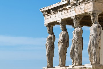 Printed kitchen splashbacks Athens Athens, Greece - February 14, 2017: The Caryatid Porch of the Erechtheion Temple at Acropolis Hill, 421–407 BC