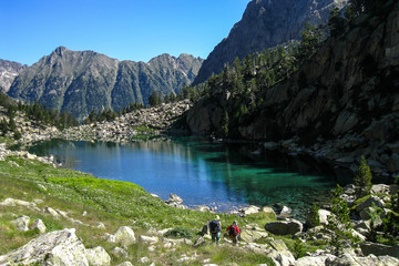 "Lake Monestero. ""Chariots of fire"" trail. Pyrenees mountain."