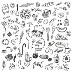 Hand drawn doodle food set with chief cook.