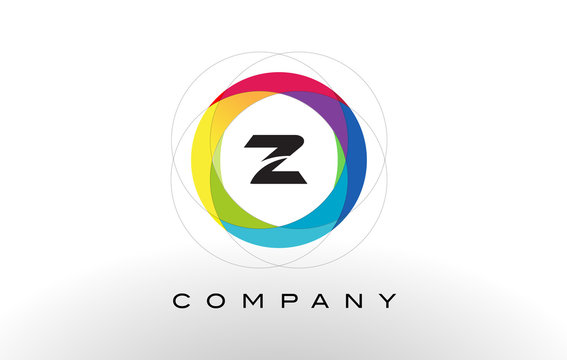 Z Letter Logo with Rainbow Circle Design.