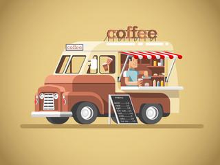 Street coffee van. Fast delivery. 3d design vector illustration