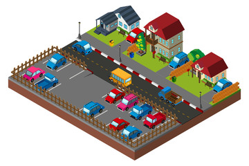 3D design for city scene with houses and cars